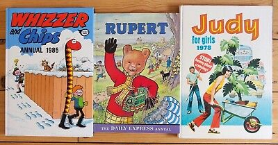 Comic book annuals Judy 1978--- Whizzer and Chips 1985 + Rupert Bear 1976