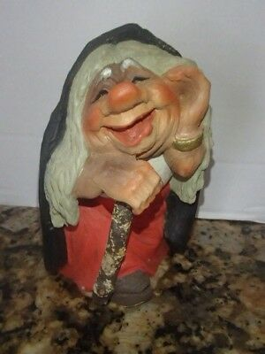 "Vtg HENNING Hand Carved Figurine Old Woman ""Troll Wife"" NORWAY Folk Art"