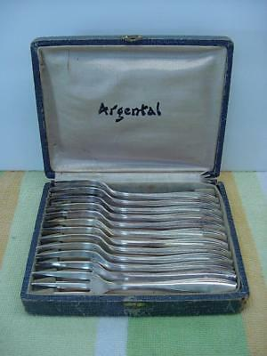 Beautiful Argental Antique French Silver Cake Fork Set In Box 12 28g Each