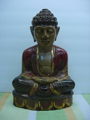 Awesome Antique Hand Carved Large Wooden buddha Statue