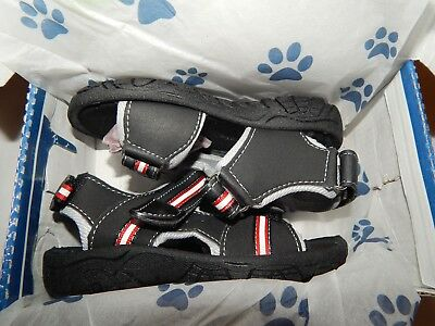 Rugged Bear Sandals 7 Toddler Boys Black Red Straps Adjustable New in Box