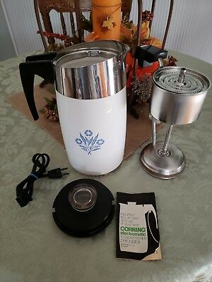 Vintage Corning Ware Blue Cornflower Electric 10 Cup Percolator #e-1210