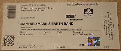 1 Ticket Mannfred Mann's Earth Band am 20.10.2018 in Gera