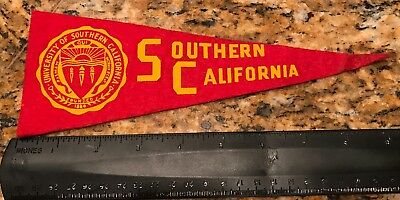 Mini University Of Southern California Pennant Yellow In Red