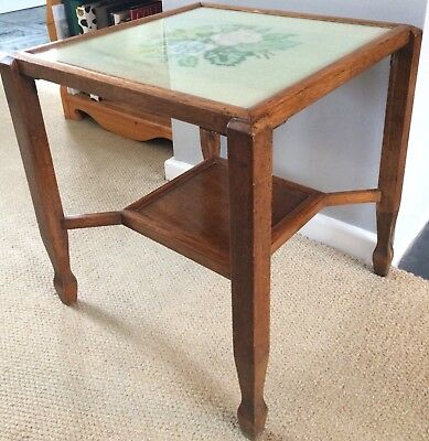 Lovely, Vintage, Oak, Occasional Table With Floral Tapestry Top Beneath Glass.