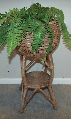 "Vintage Brown Round Wicker Rattan Floor Plant Stand Holder With Shelf 23"" High"