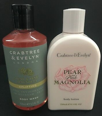 Crabtree & Evelyn Pear & Pink Magnolia Shower Gel & Body Lotion Lot 8.5 Oz. New