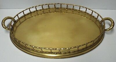Vintage Hollywood Regency Solid Brass 17.5 x 12.5 Oval Serving Tray w/ Handles