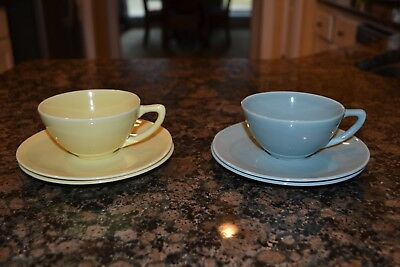 6 pcs Vintage Knowles Pottery Dishes - Yellow & Blue - Lunch Plates Cups