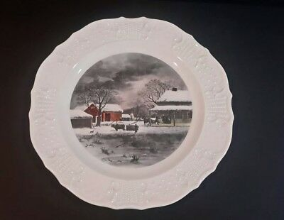 "HOME TO THANKSGIVING Currier and Ives  Dinner Plate 10"" Vintage"