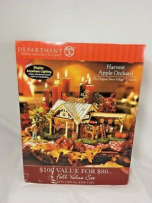 "Dept 56 Snow Village Halloween Lighted ""harvest Apple Orchard"" New In Box"
