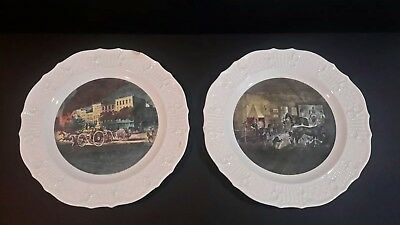 LIFE OF A FIREMAN & TROTTING CRACKS AT THE FORGE Currier & Ives Dinner Plate