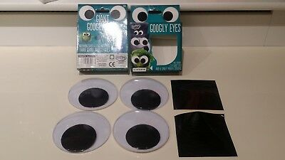 4 inches 4 Giant Googly Eyes & 12 smiley mouth stickers Home Office Decor huge