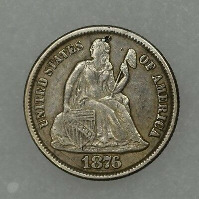 1876-CC 10c Liberty Seated Dime Carson City XF Details cleaned pick on obverse