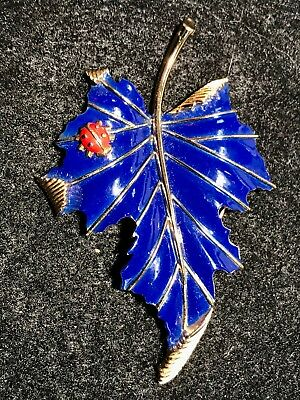 Designer Vtg Enameled Trifari Leaf & Ladybug Pin/brooch