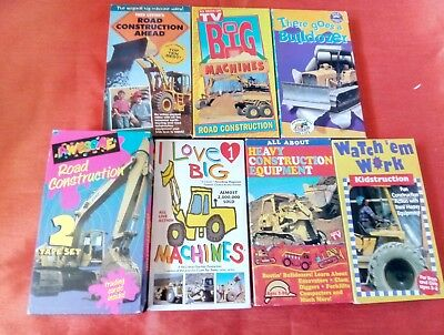 Lot of 8  Road Construction Equipment Machines for Kids VHS Video Cassette Tapes