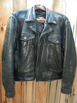 HARLEY DAVIDSON (CLASSIC BLACK LEATHER) JACKET w/SNAP-IN LINER -- SIZE  LARGE