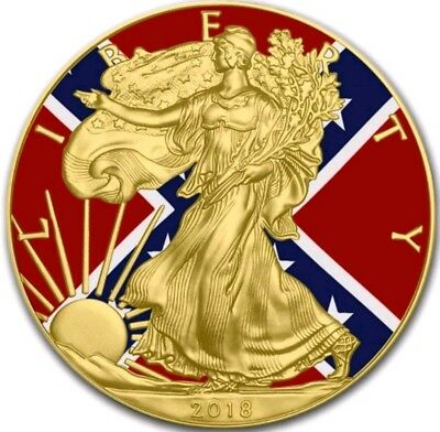 2018 USA $1 CONFEDERATE FLAG WALKING LIBERTY 1 Oz Silver Coin WITH 24Kt Gold.