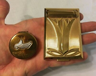 RICHARD HUDNUT Gold Plated Compact w/ Mirror & other ROUGE compact 1940's Era