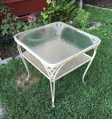 Vintage WOODARD Patio Two Tier End Table w/ Textured GLASS - Wrought Iron MCM