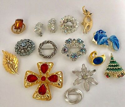 Nice lot of vintage brooches rhinestone sterling assorted bling 14 pc
