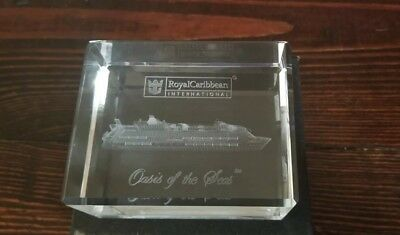 Oasis Of The Seas Crystal Glass Paperweight Royal Caribbean