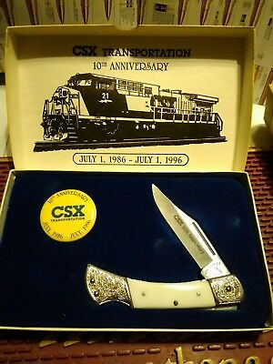 🇺🇸CSX Railroad 10th Anniversary Pocket Knife with Button and Box🇺🇸