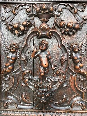 SALE ! Stunning Renaissance Louis XVI carved panel with cherubs, angels, Putti's