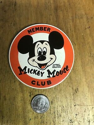 """Vintage MICKEY MOUSE CLUB MEMBER Large 3 1/2"""" ROUND BUTTON PIN Walt Disney"""