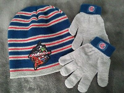 Kids Justice League winter hat and gloves