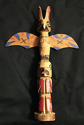 Small Vintage Hand Carved Wood Totem Pole Navajo?