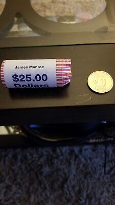 2008 P James Monroe Presidential One Dollar Coin From Bank Roll