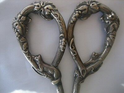 Antique Sterling Silver 254 Ornate Fox Grapes Scissors Germany