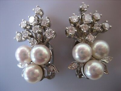 2d622317f Stunning Vintage 14K White Gold Diamond Pearl Clip-On Earrings 11.4 Grams