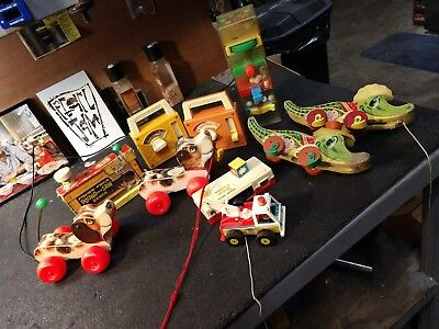 Vintage Fisher Price Pull Toys,camera, radios,saw bench, etc. 1965 Lot of 10