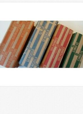 20 Coin Rollers Pop - Open Flat Paper Wrappers (Penny, Dimes, Nickels Quarters)