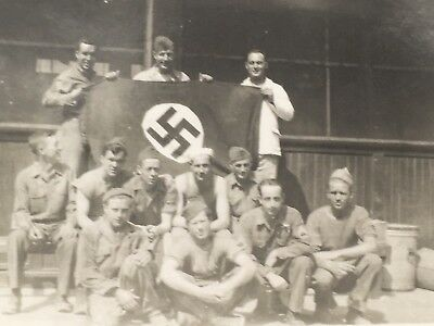 Old Original WWII Military Army Photo of US Soldiers Posing with German Flag