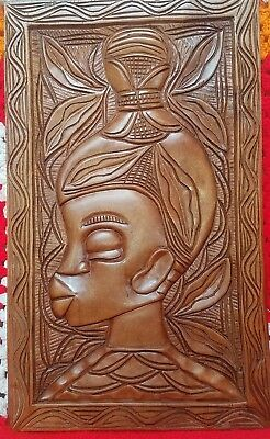 African Art Wood Carved Woman, Wall Hanging, Plaque, Handcarved, Handmade