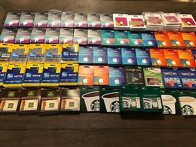 HUGE LOT of Gift Cards, All New, NO CASH VALUE! Apple, Starbucks, Toys R Us,MORE