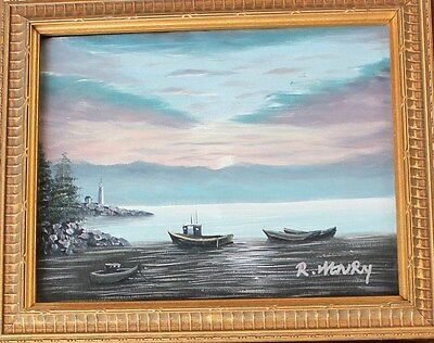 Vintage Framed Oil Acrylic Painting on Canvas Landscape Boats Lake River R Henry