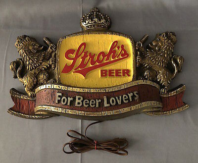 Vintage STROH'S BEER Lighted Plastic LIONS & CROWN Bar / Tavern SIGN