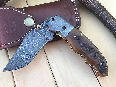 "HUNTEX Custom Handmade Damascus 4.4"" Long Ram Horn Hunting Folding Pocket Knife"