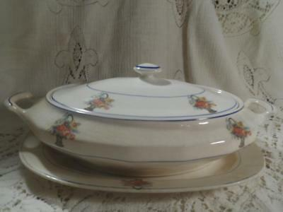 3 Pc.Edwin M.Knowles Semi-Vitreous China Covered Tureen Casserole w/UnderPlate