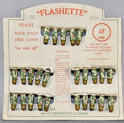 Antique * Store Display Card * Flashette C-6 Holly Pattern Flashers!