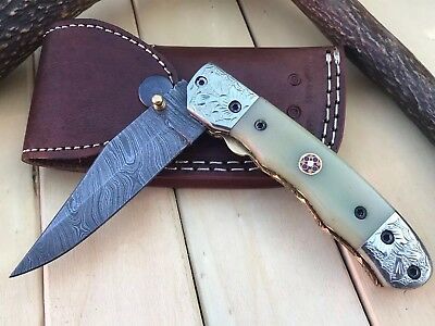 "HUNTEX Custom Handmade Damascus 4.2"" Long CamelBone Hunting Folding Pocket Knife"
