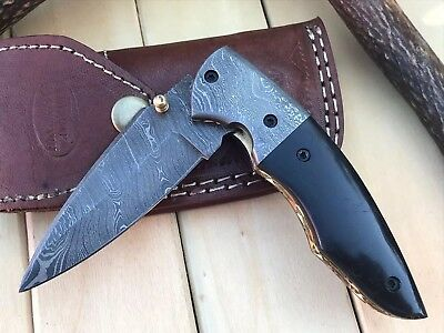 "HUNTEX Custom Handmade Damascus 4.4"" Long Buffalo Hunting Folding Pocket Knife"