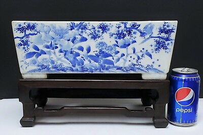 Antique Chinese Blue & White Porcelain Planter on Carved Wood Stand