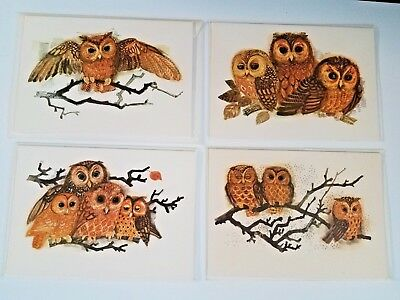 Lot of 4 Blank Note Cards Autumn Owls MADS STAGE Denmark Marcel Schurman UNUSED