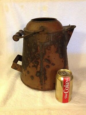Large Antique 1890's Cowboy Style Copper Coffee Pot With Wood Handle Bail-Nice!