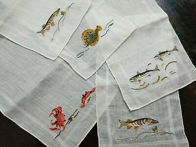 Vintage Cocktail Napkins FRENCH BEAUVAIS FISH Crabs Sea Life Hand Embroidery